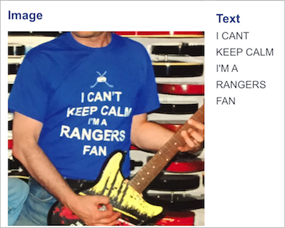 OCR example reading -I can't keep calm I'm a rangers fan-