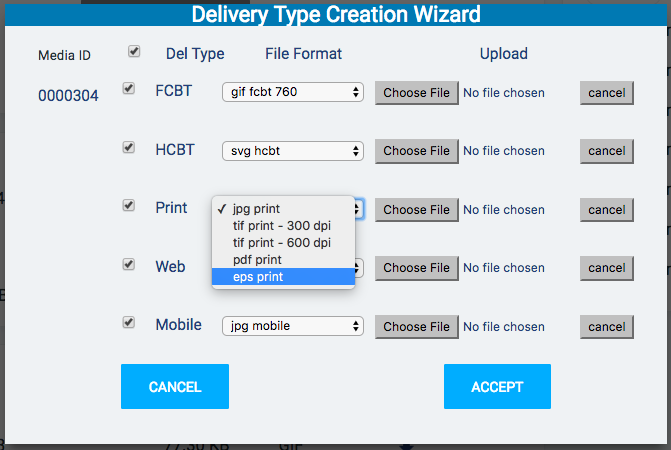 Delivery type creation wizard