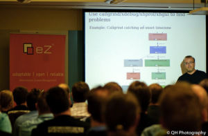 Rasmus Lerdorf, creator of PHP, speaking at an eZ community event