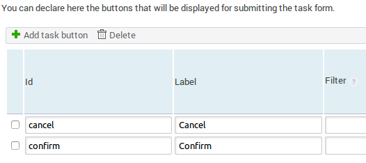 User Selection Buttons