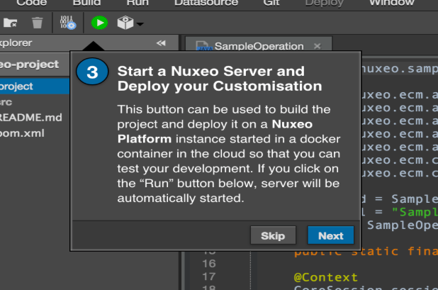 Nuxeo factory guided tour - start a nuxeo server and deploy customization