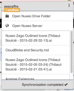 Screenshot from Nuxeo Drive 2.0 - synchronization complete