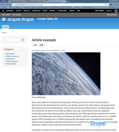 screenshot of the Drupal page displaying a picture from Nuxeo