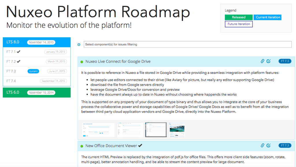 Screenshot of the Nuxeo Roadmap