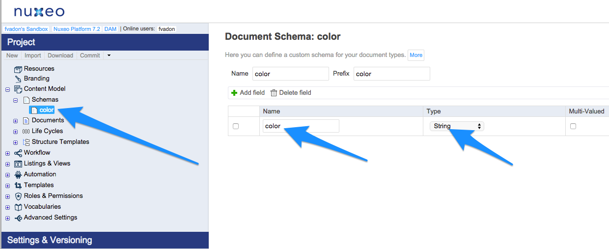 Create a color schema with a String color metadata