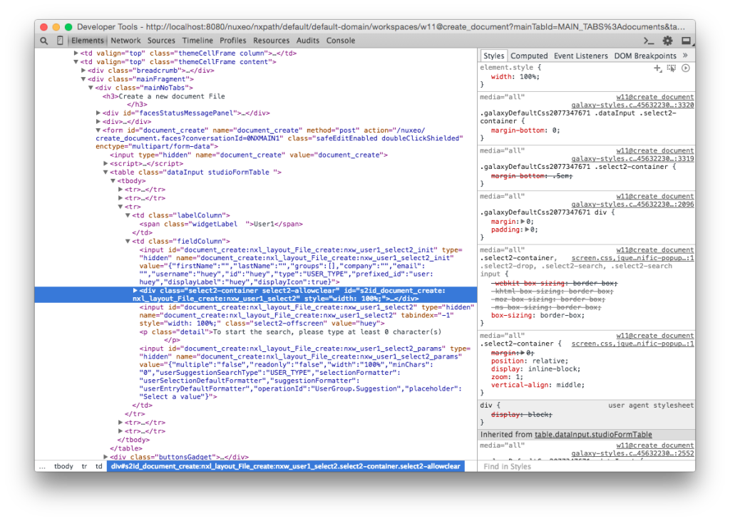 Inspecting the page HTML