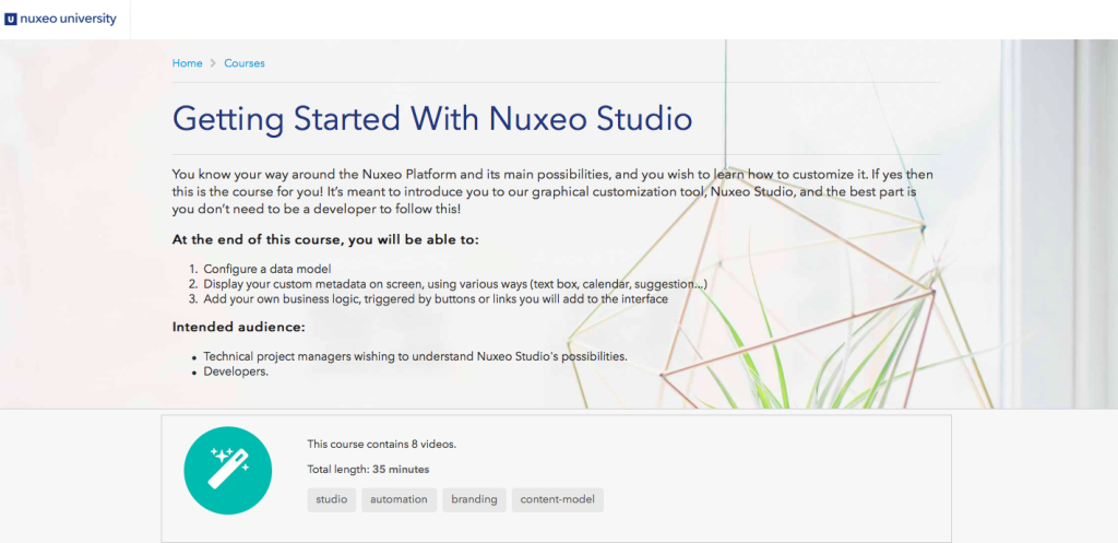 Nuxeo Studio course in Nuxeo University