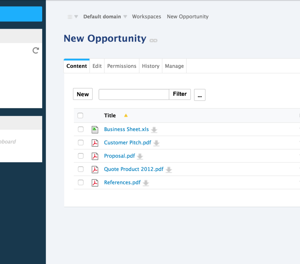 Documents in new opportunity available in Nuxeo side
