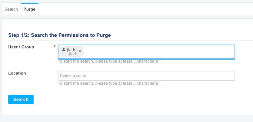 Purge of permissions for julie - Step 1