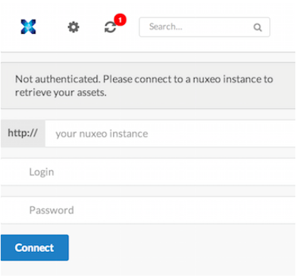 click on the settings icon and register to a Nuxeo instance