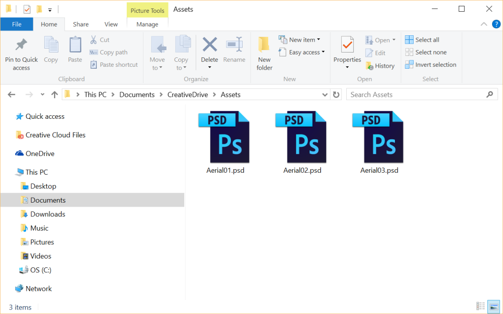PSD files in the local folder of a user who is a member of the Creatives user group